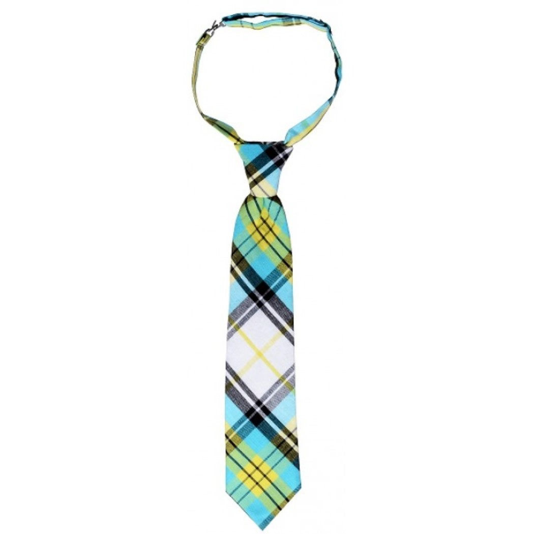 Handmade Pre-Tied Neckties for Boys by Troy James Boys (Size: Large (4-6 Years), Style: Blue and Yellow Plaid)