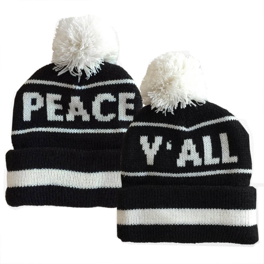 Boys' Peace Y'All Pom Pom Beanie by Tiny Whales (Size: 2-5 Years)