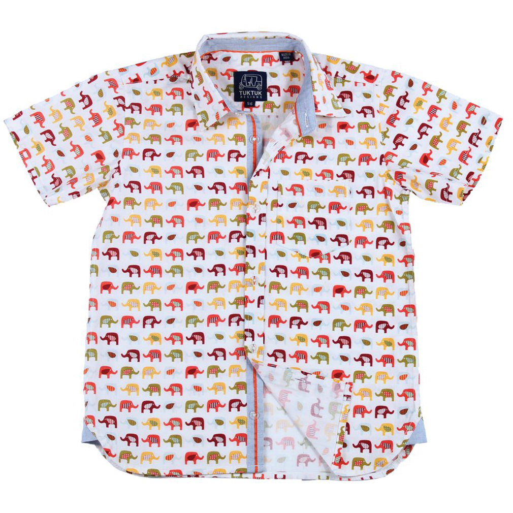 Boys Eastern Elephant Dress Shirt by Tuktuk Designs (Size: 3-4)
