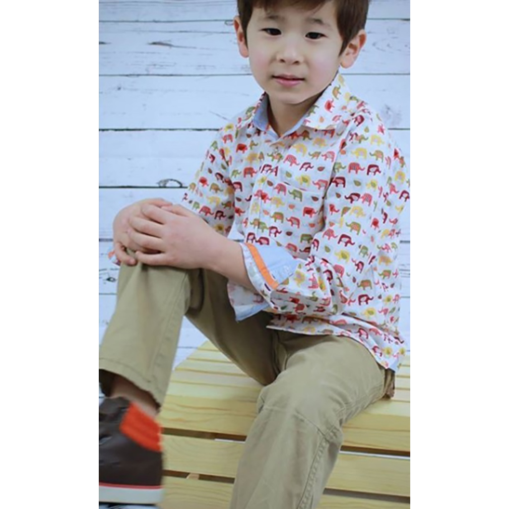 Boys Eastern Elephant Button Up Shirt by Tuktuk Designs (Size: 3-4)