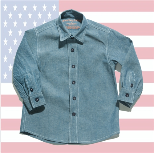 Boy's Chambray Button Up Shirt by Good Boy Friday (Size: 2T)