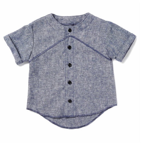 Chambray Baseball Button-up by Good Boy Friday (Size: 2/3)