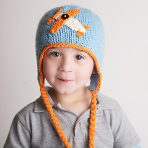 Little Boys Sky Rider Beanie Hat by Huggalugs (Size: Small (Newborn-6 Months))