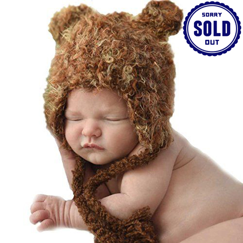 Baby Boys' Brown Bear Beanie by Huggalugs (Size: Small)