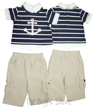 Minibasix Boys' Anchor Shirt and Pant Set (Size: 3 Months)