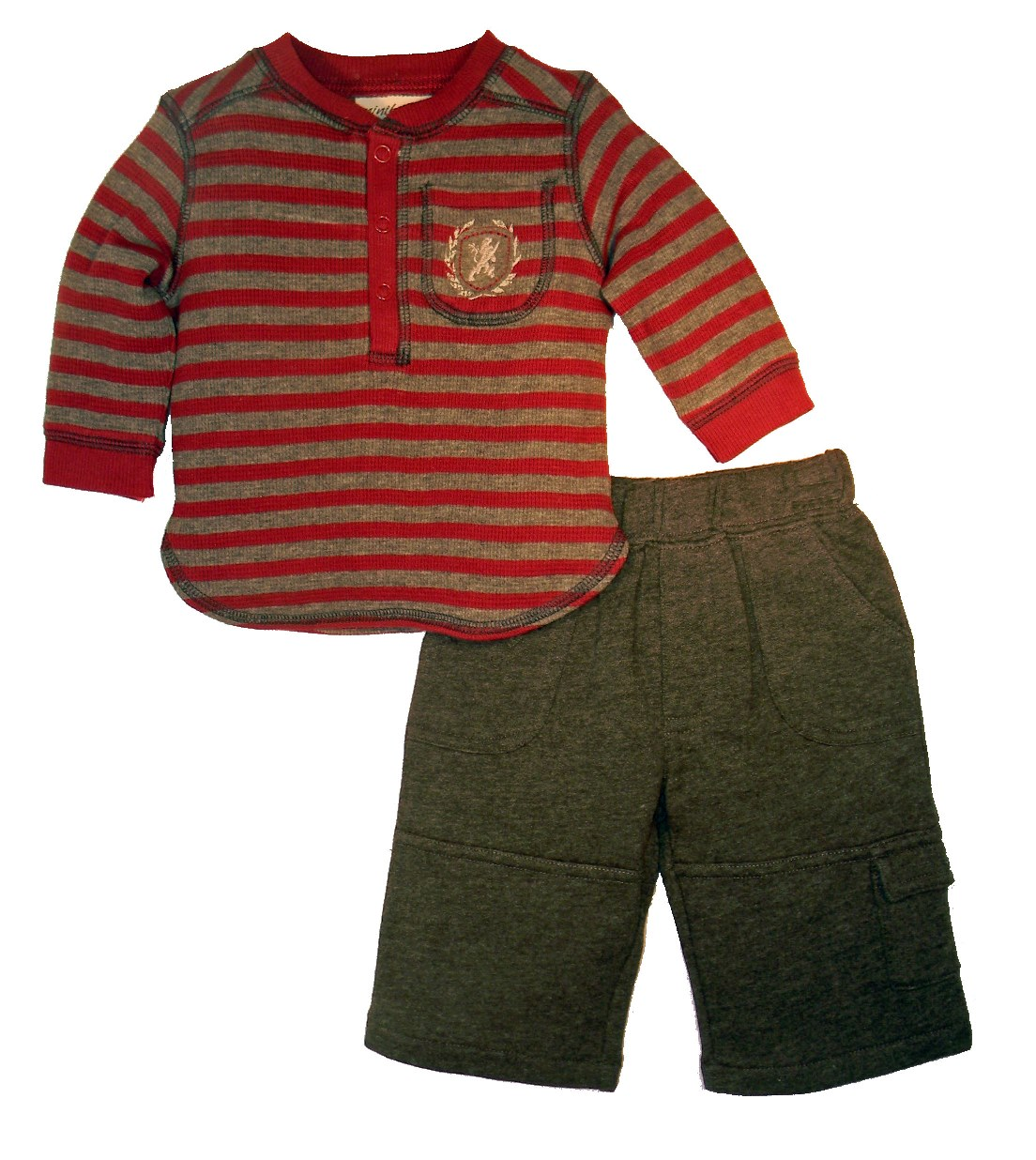 Minibasix Boys' Striped Shirt & Pant Set (Size: 3 Months)
