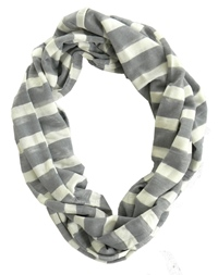 Gray and White Striped Scarf for Boys