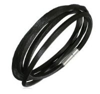 Black Leather Bracelet for Boys