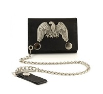 Boys Leather Wallet with Silver Eagle
