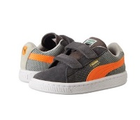 Boys Gray and Orange Sneakers