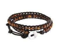 Leather and Beads Wrap Bracelet for Boys