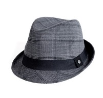 Boys fedora in gray plaid