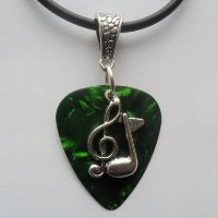 Green Guitar Pick Pendant Necklace