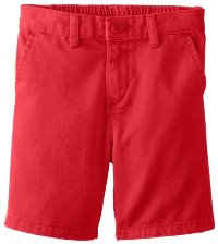 Red Flat Front Shorts for Boys