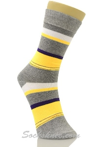 Boys Striped Socks in Yellow and Gray