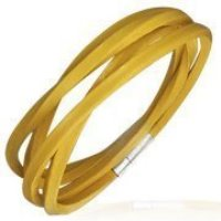 Bright Yellow Leather bracelet for Boys