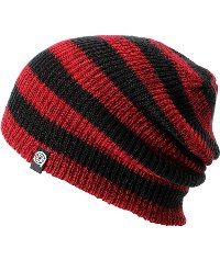 Boys Beanie in Red and Black Stripe