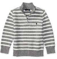 Boys Sweater in gray and white stripes