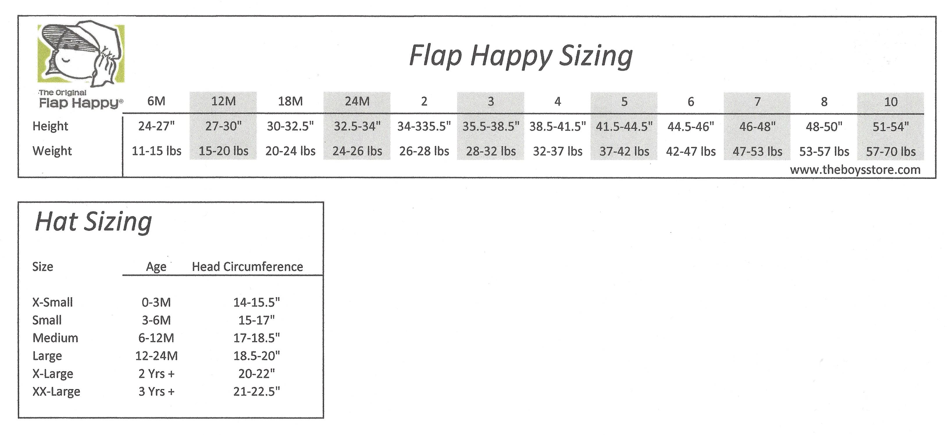 Flap Happy Sizing Chart