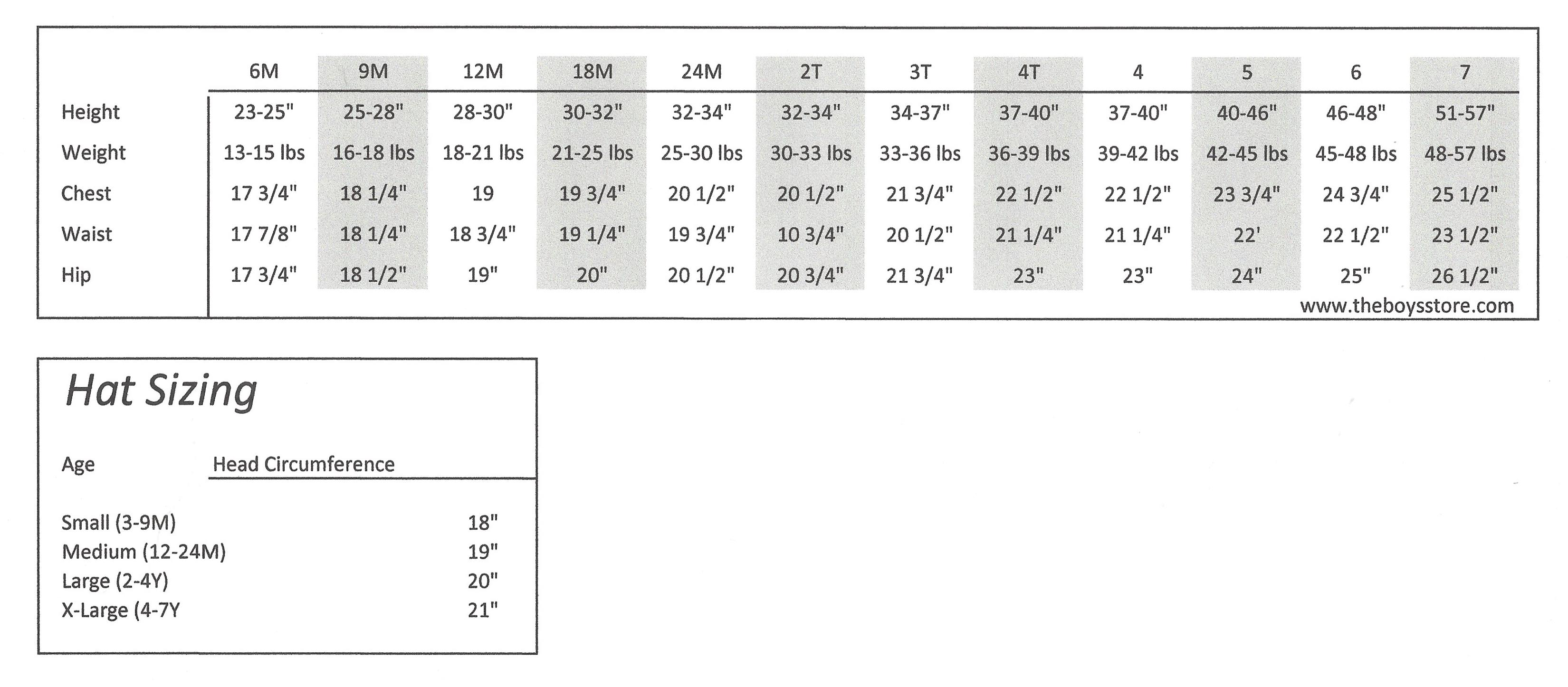 le top Sizing Chart   The Boy's Store
